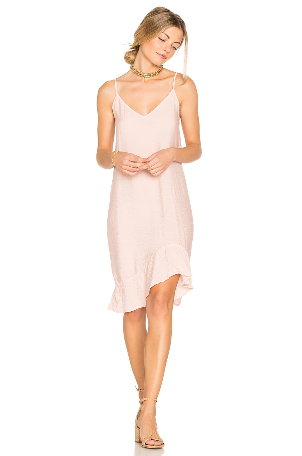 LACAUSA Ruffle Slip Dress in Charm