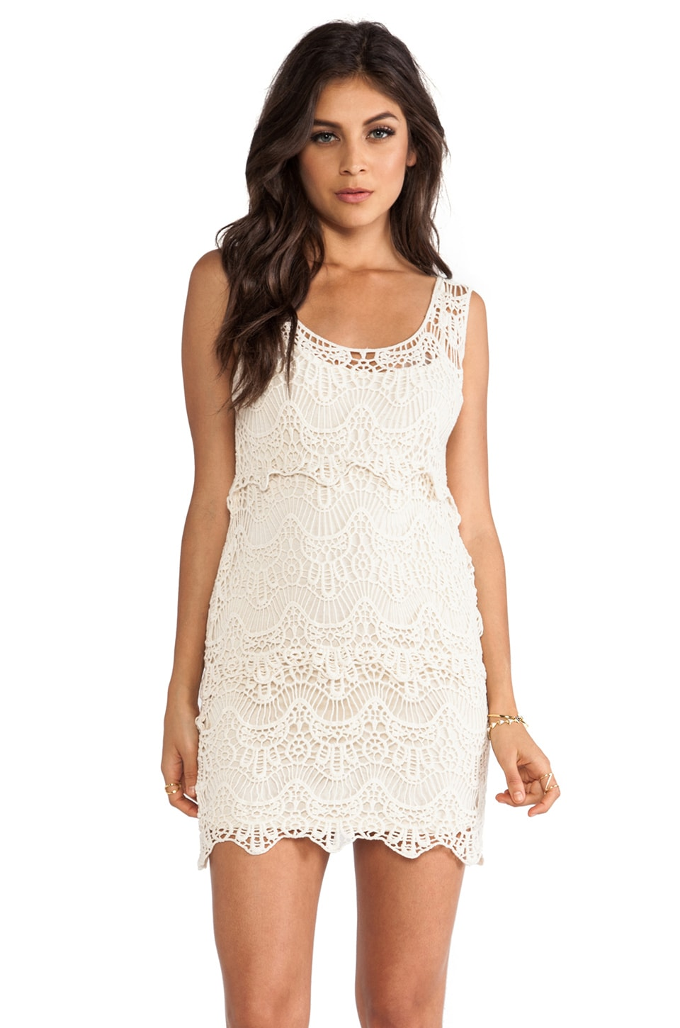 Ladakh Cotton Crochet Dress in Ivory