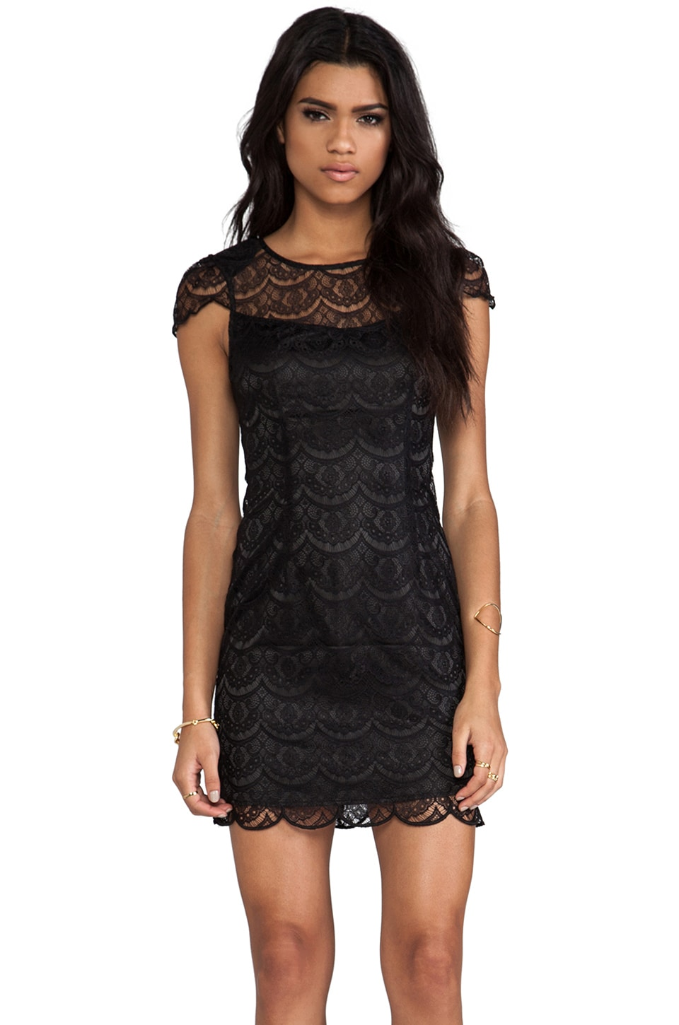 Ladakh Nouveau Lace Dress in Black