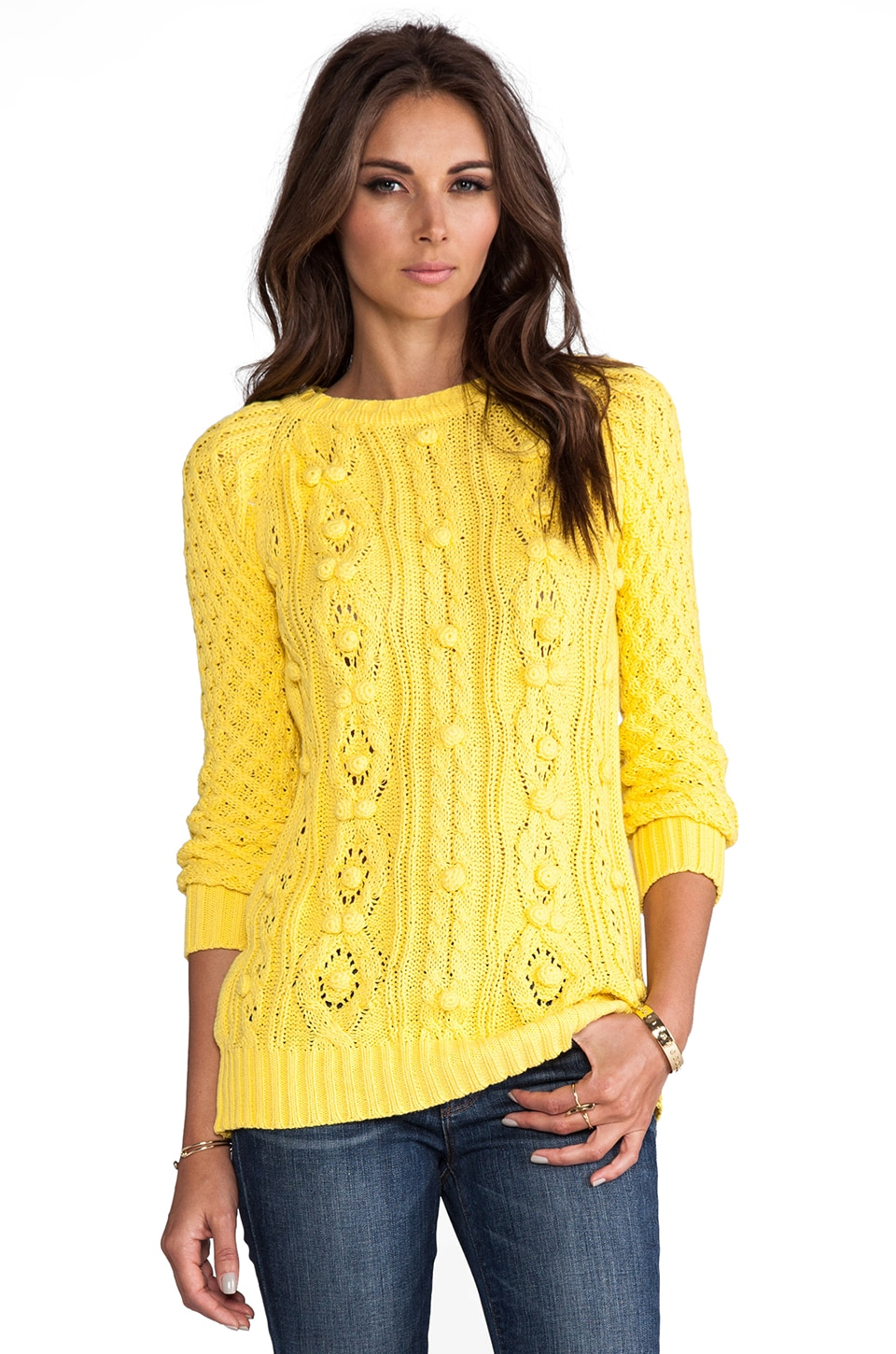 Ladakh Bubble Knit Sweater in Citrus