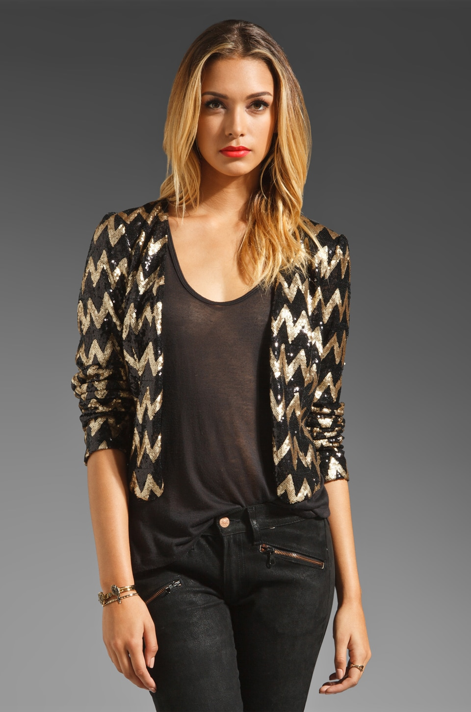 Ladakh For Keeps Zig Zag Sequin Jacket in Black/Gold