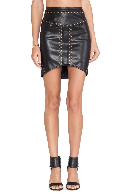 Ladakh Python Leatherette Skirt in Black