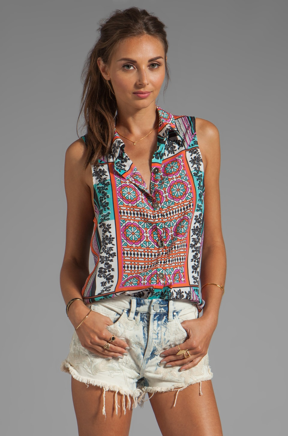 Ladakh Resort Scarf Print Top in Multi