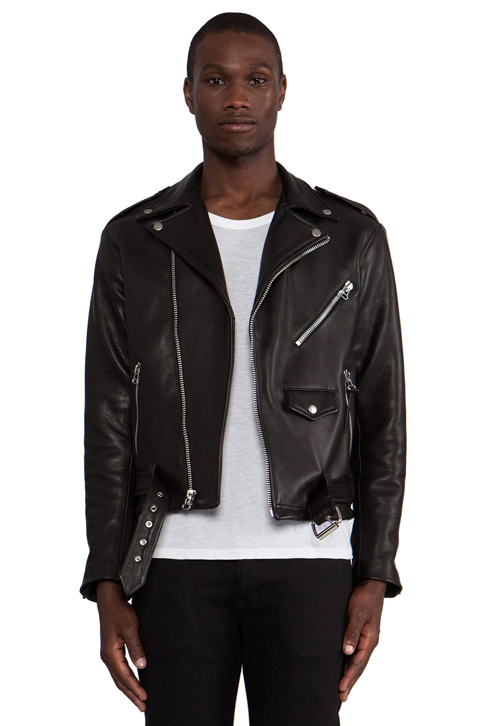 Laer Classic Leather Moto Jacket en Black