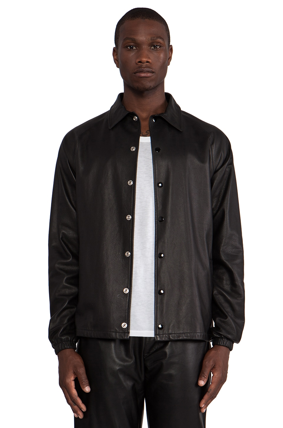 Laer Coaches Lambskin Jacket in Black
