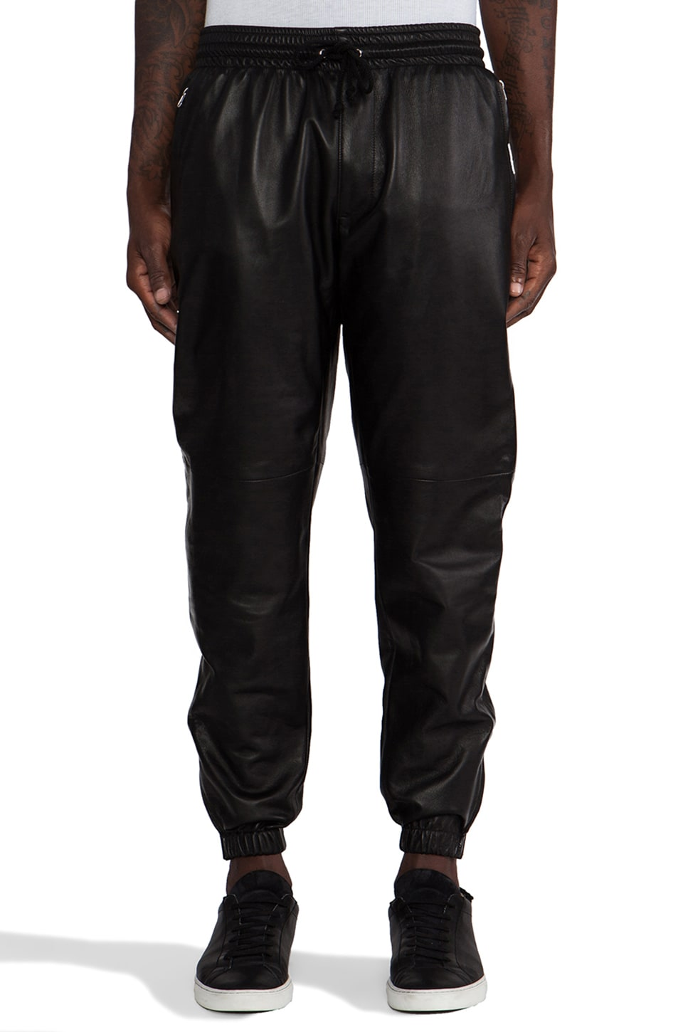 Laer Leather Zip Pant in Black