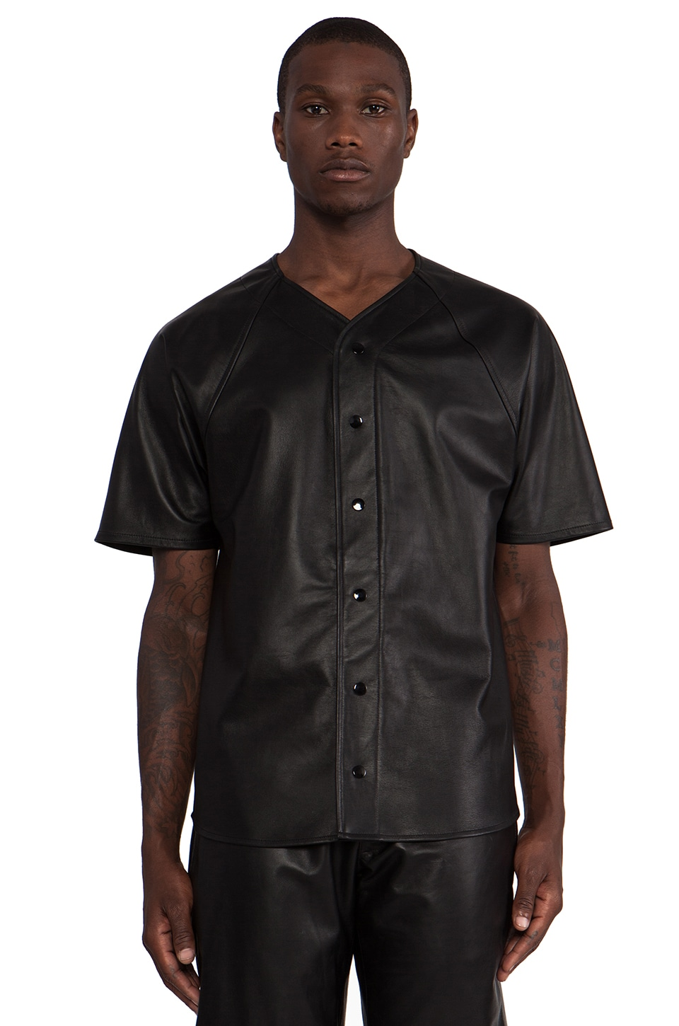 Laer Leather Baseball Jersey in Black