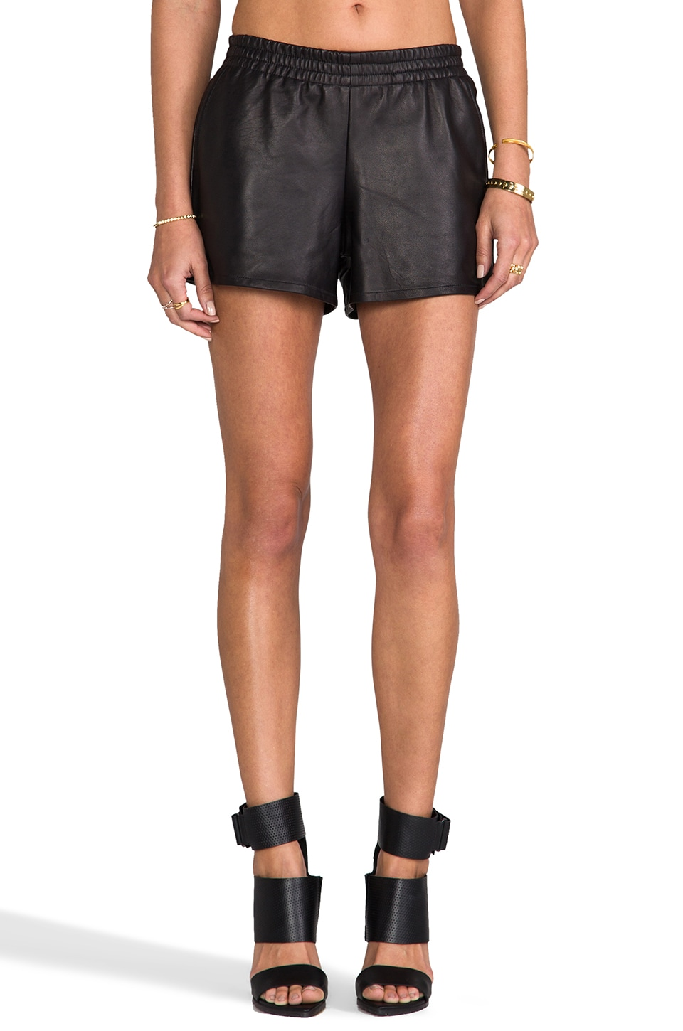 Laer Leather Sport Short in Black