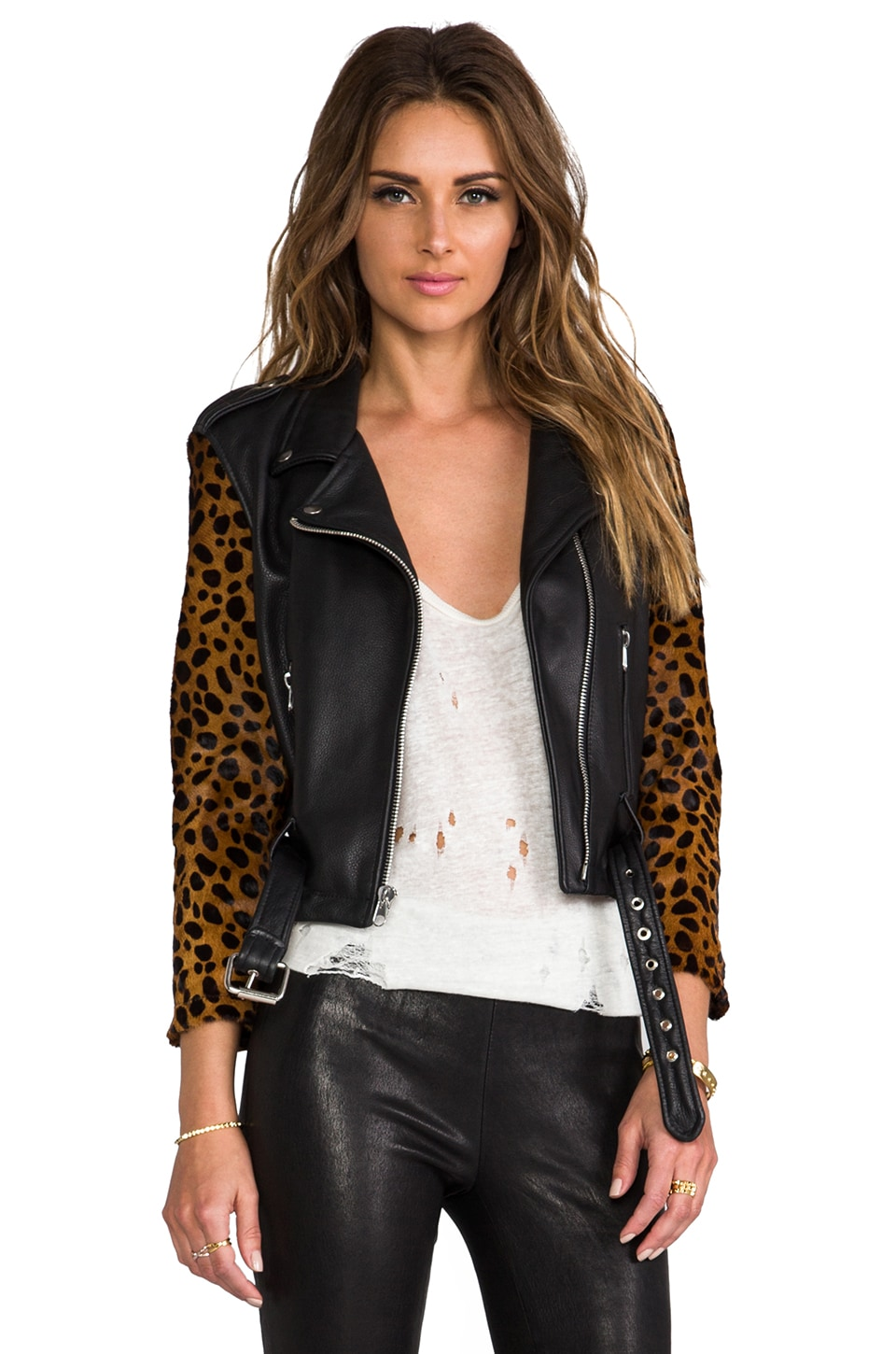 Laer Shrunken Leather Moto Jacket in Black & Cheetah