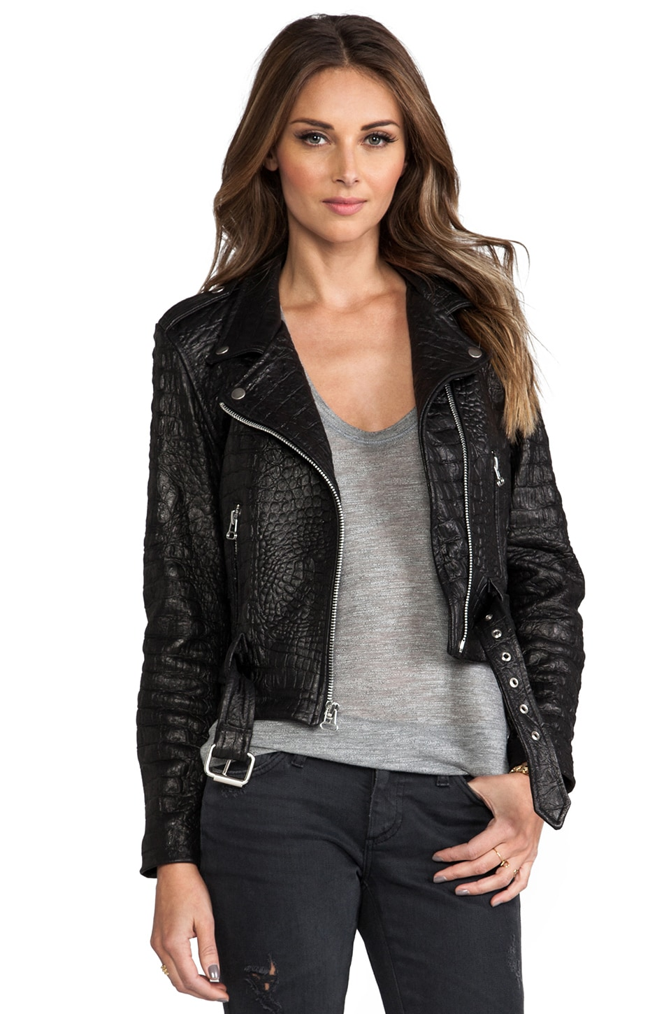 Laer Croc Shrunken Moto Jacket in Black