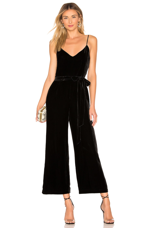 L'AGENCE Jaelyn Velvet Camisole Jumpsuit in Black