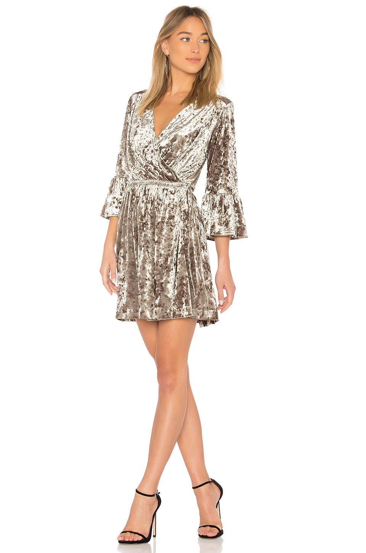 L'AGENCE Riley Wrap Dress in Mink