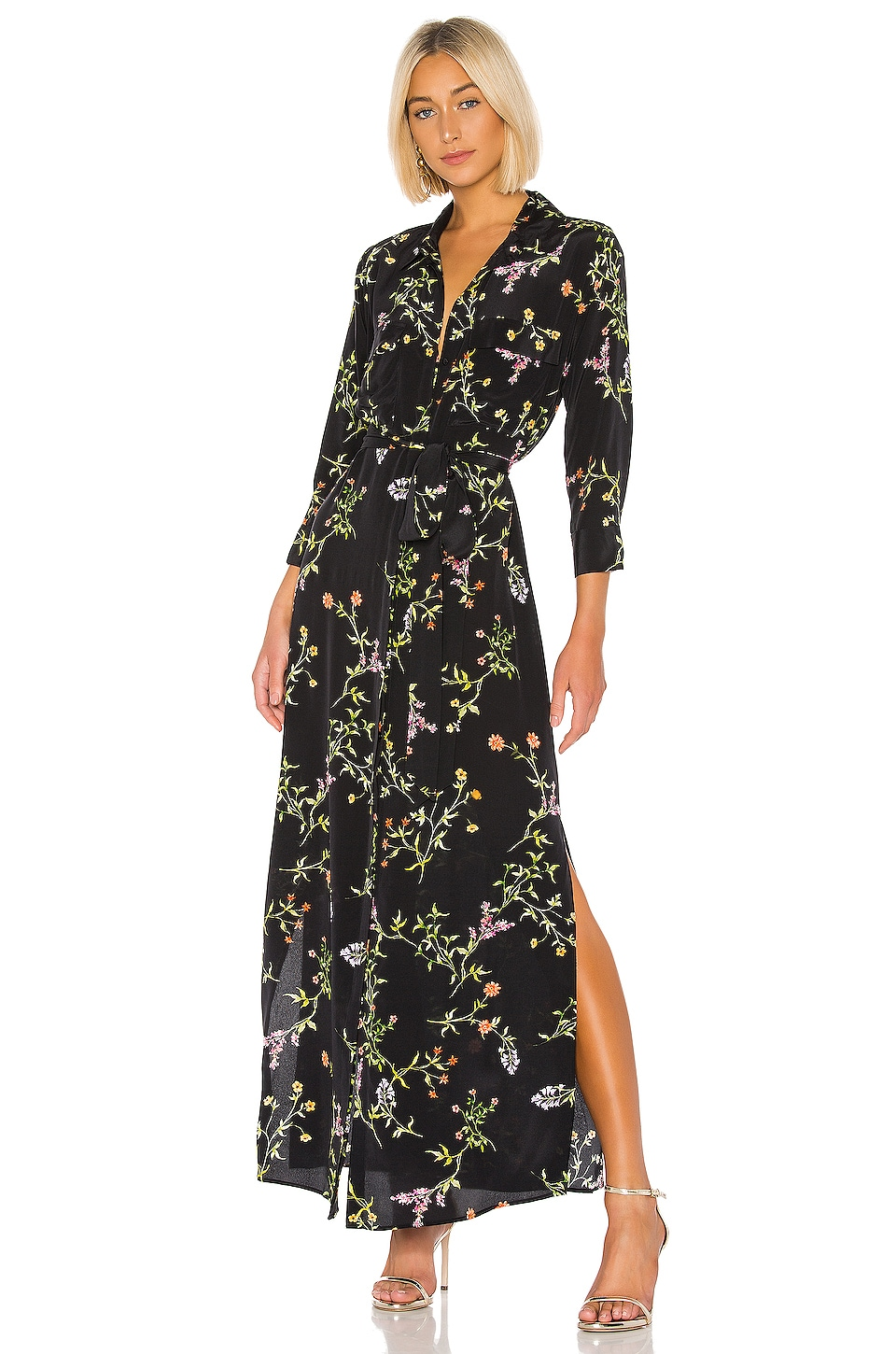 L'AGENCE Cameron Shirt Dress in Black Bloom Multi