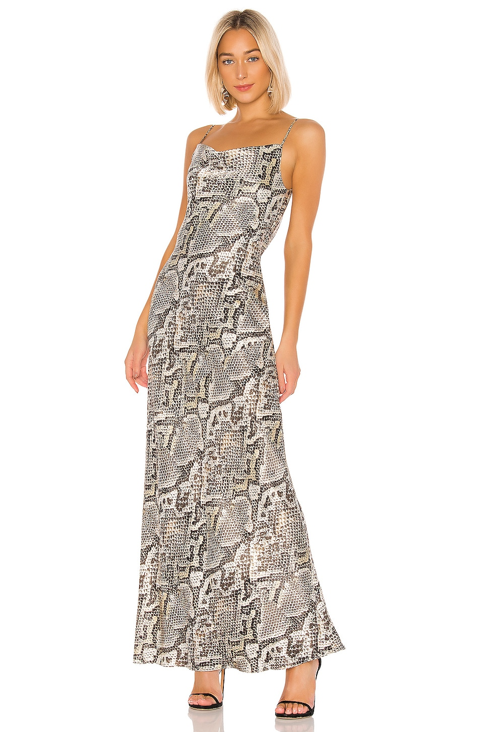 L'AGENCE Arianne Bias Maxi Slip Dress in Natural Multi Python