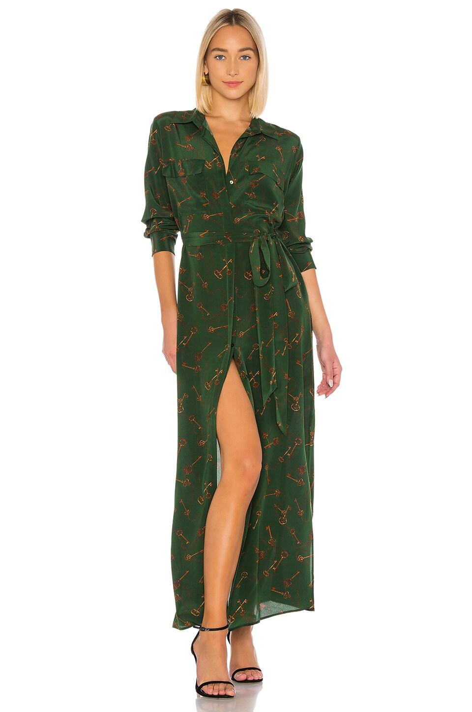 L'AGENCE Cameron Long Shirt Dress in Pine Multi Keys