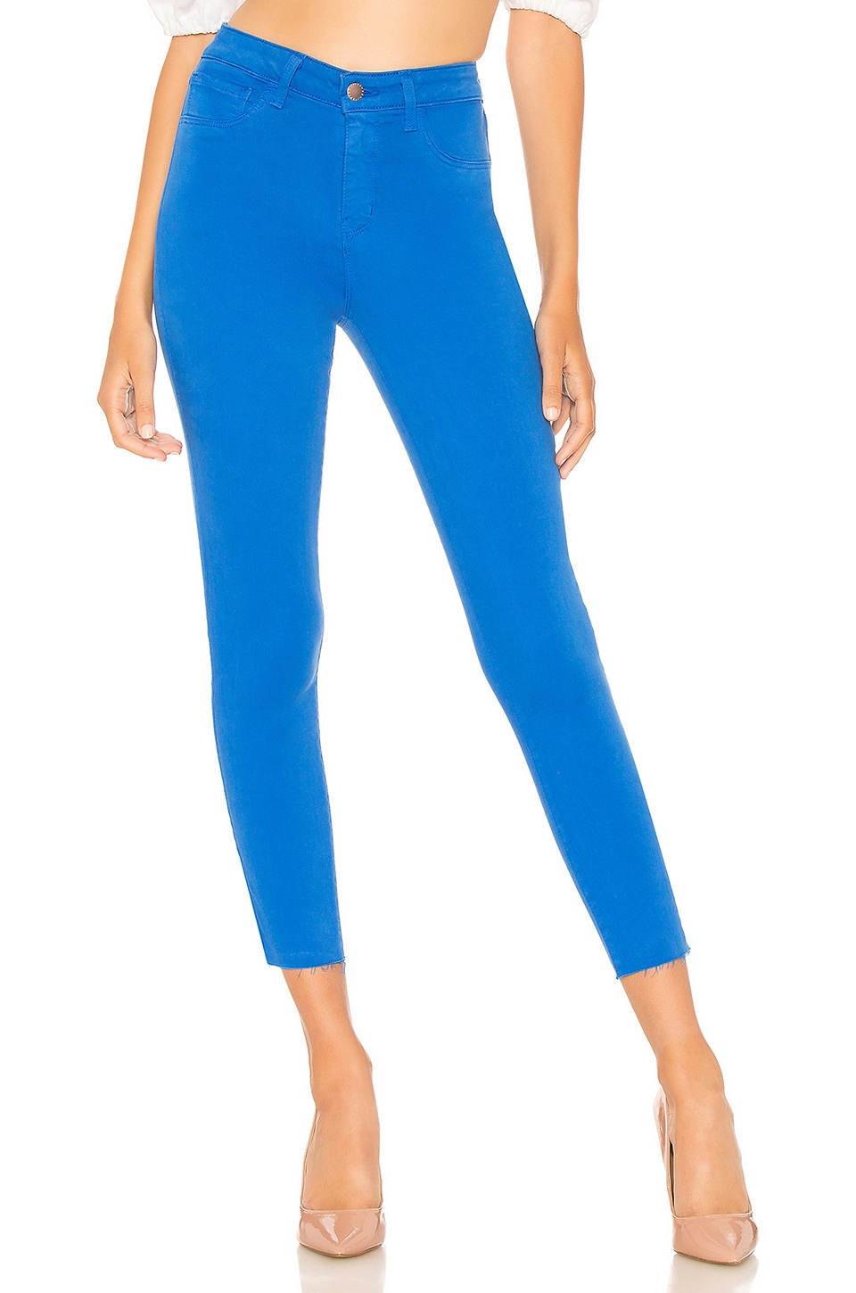 Margot High-Rise Skinny Jeans W/ Unfinished Hem, Princess Blue