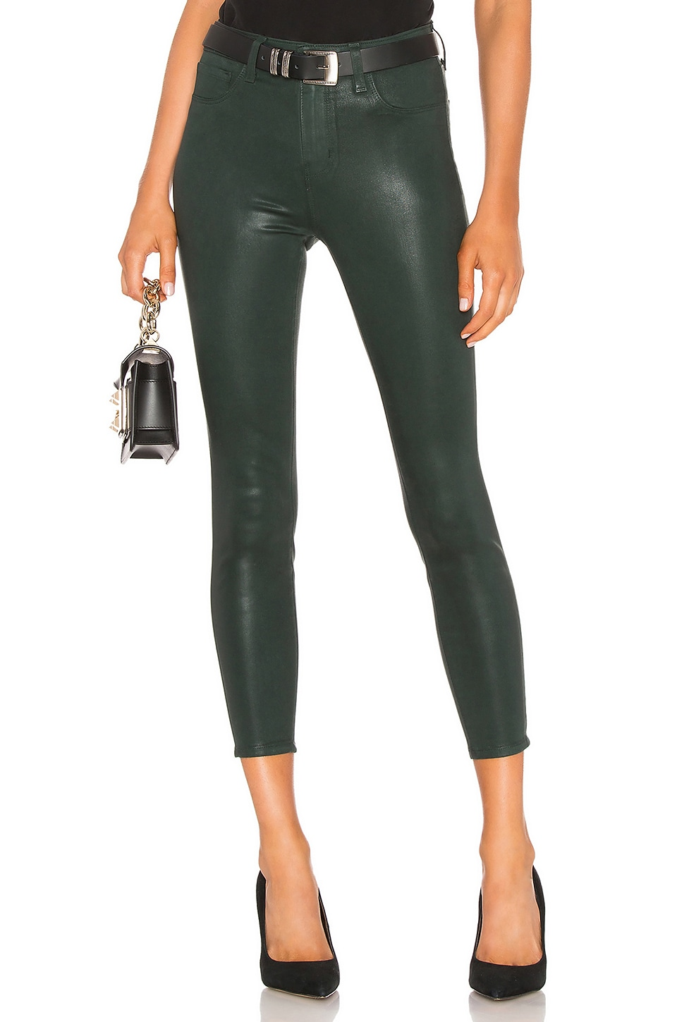 L'AGENCE Margot High Rise Skinny in Evergreen Coated
