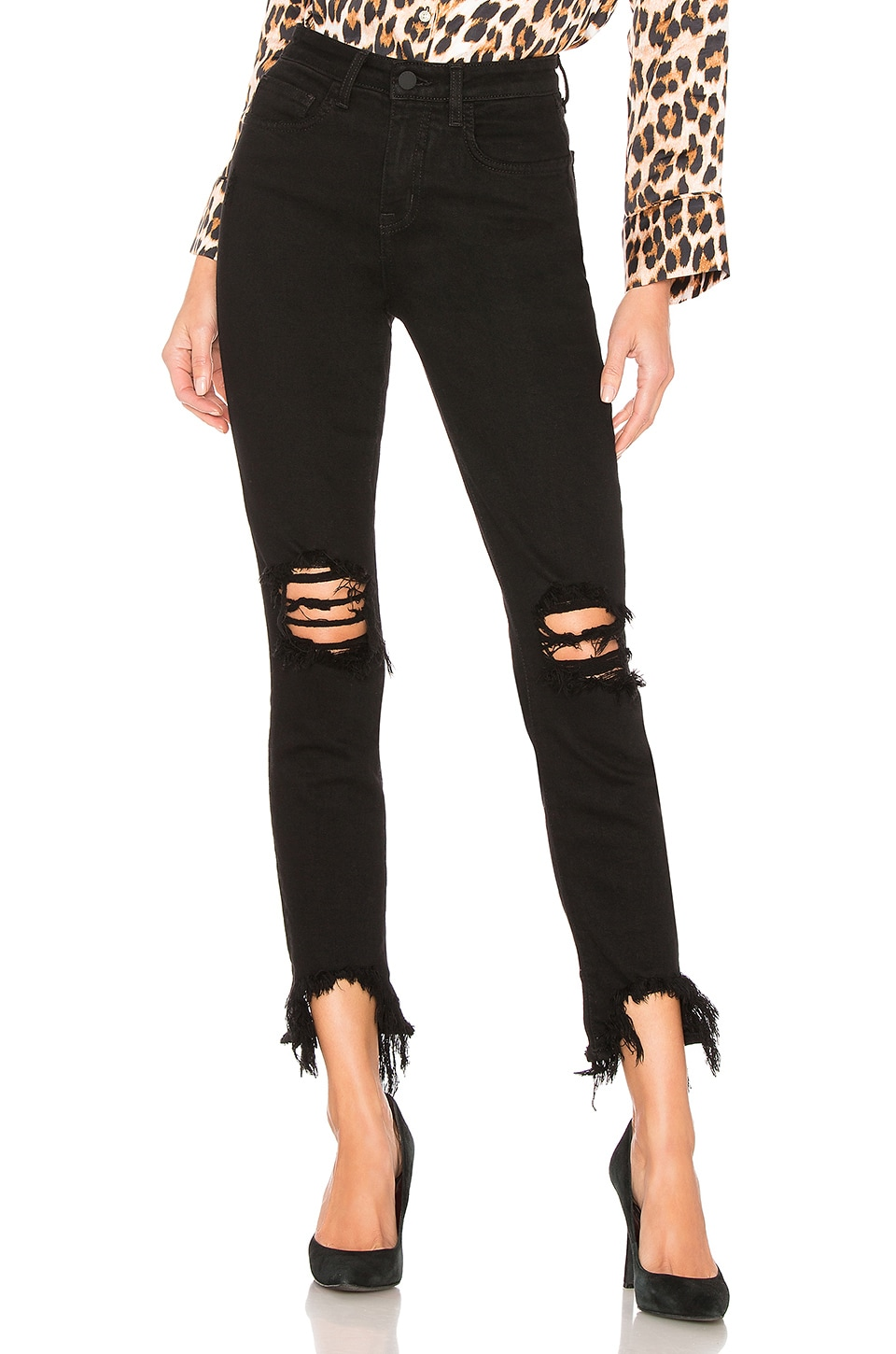 L'AGENCE High Line Skinny in Saturated Black Destruct