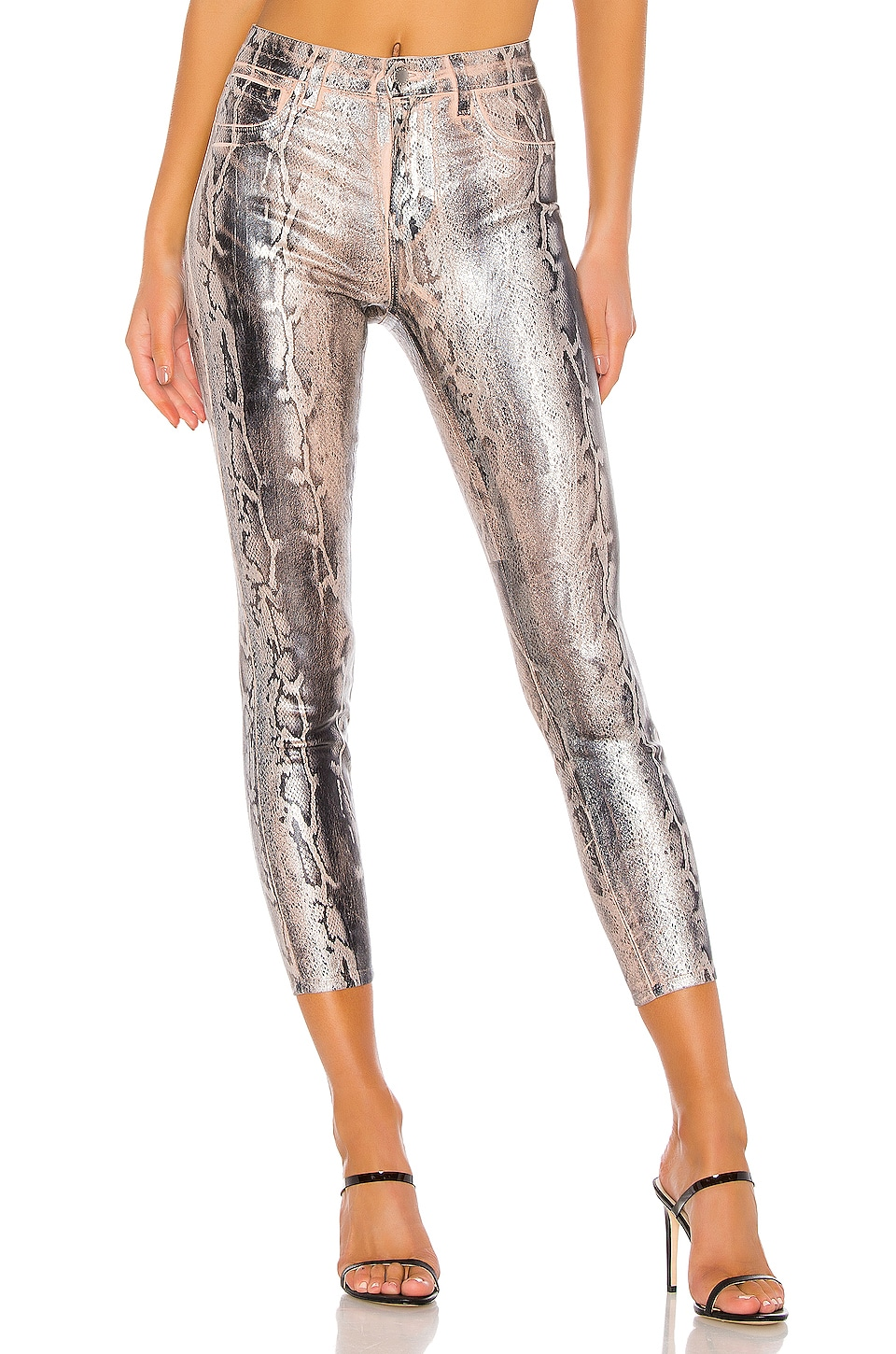L'AGENCE Margot High Rise Skinny in Petal/Black Snake Skin