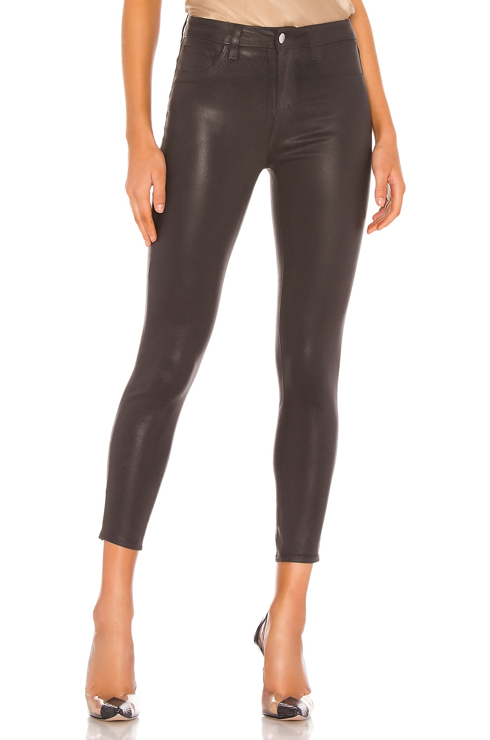 L'AGENCE Coated Margot High Rise Skinny in Greystone Coated