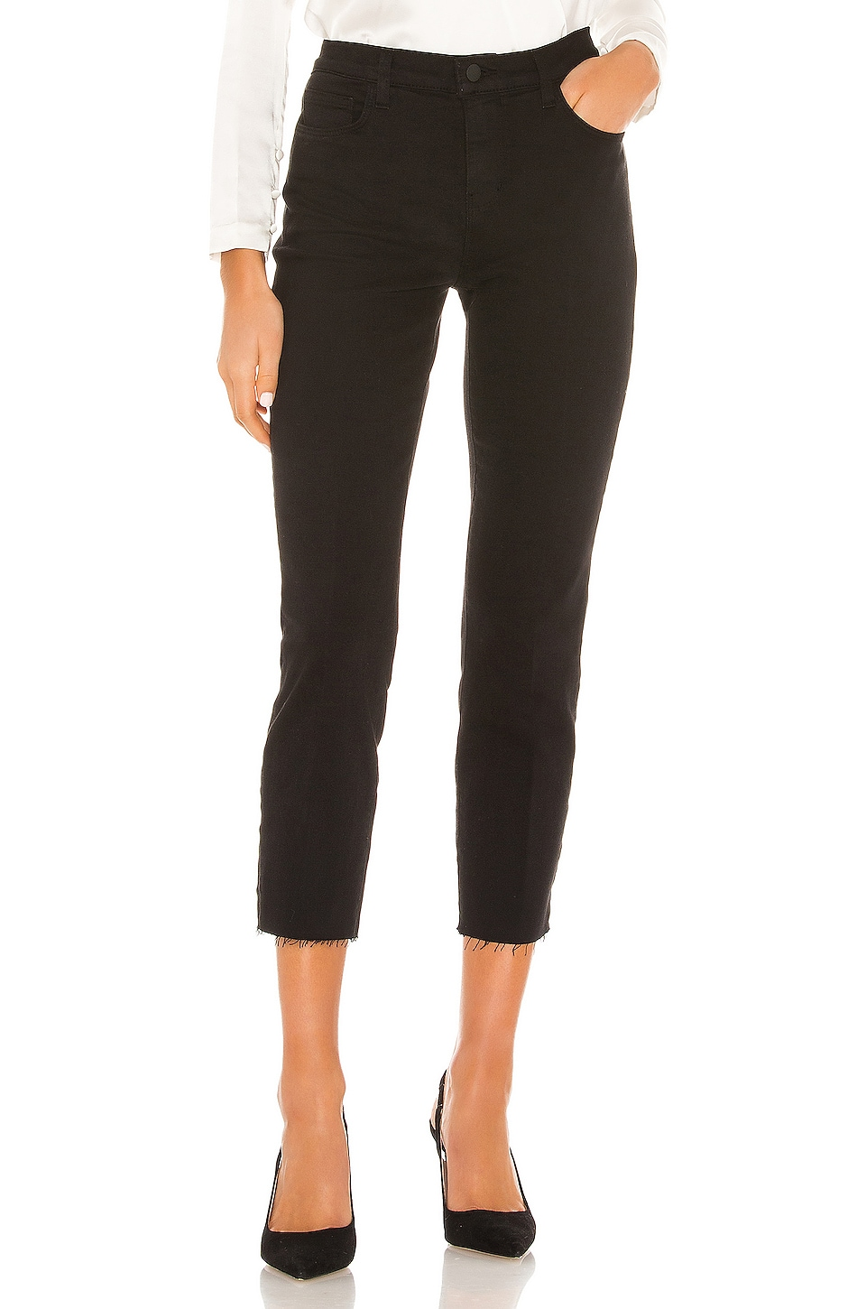 L'AGENCE Sada High Rise Crop Slim Straight in Black