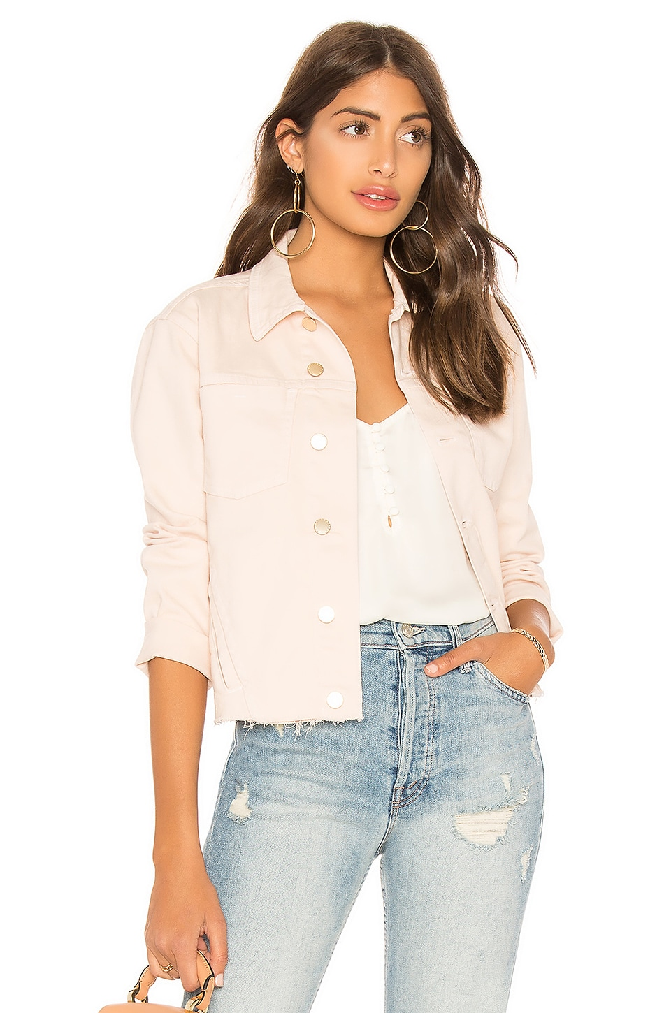 Janelle Raw Cut Slim Denim Jacket, Quartz