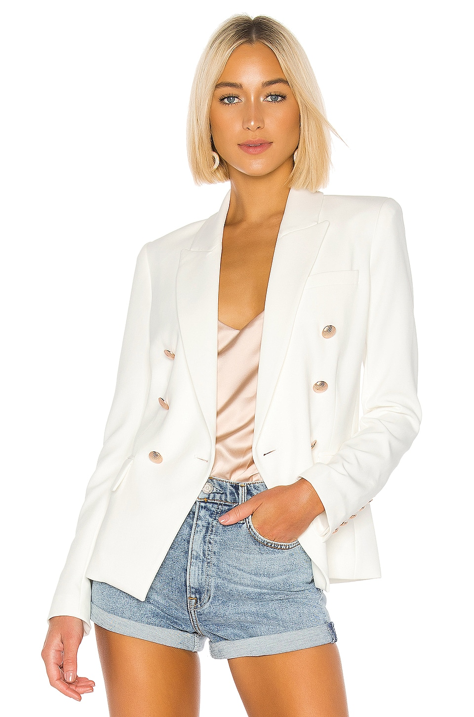 L'AGENCE Kenzie Double Breasted Blazer in Ivory