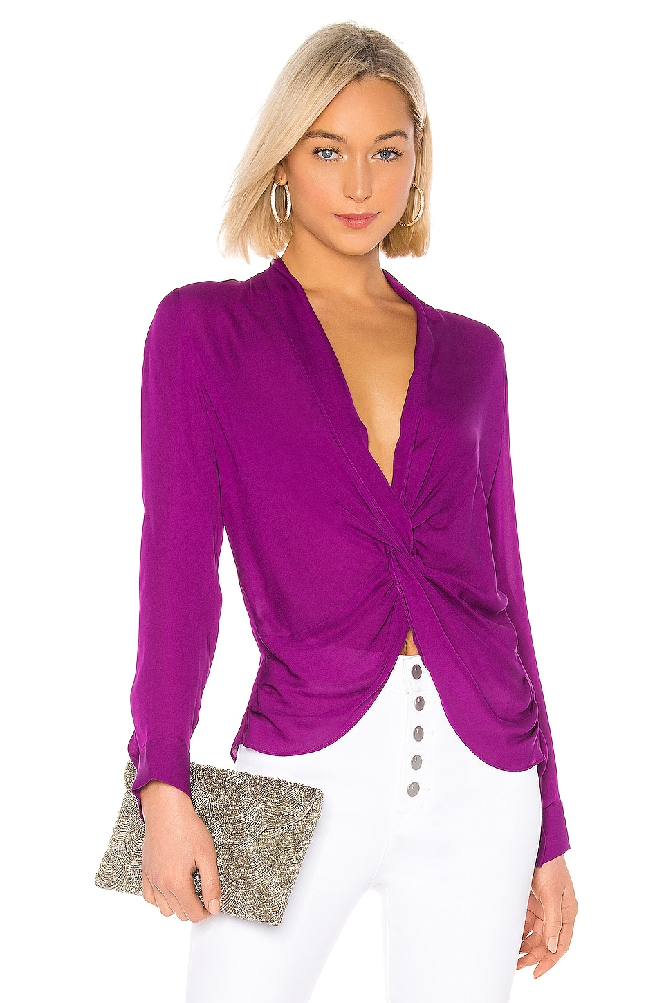 L'AGENCE Mariposa Blouse in Bright Plum