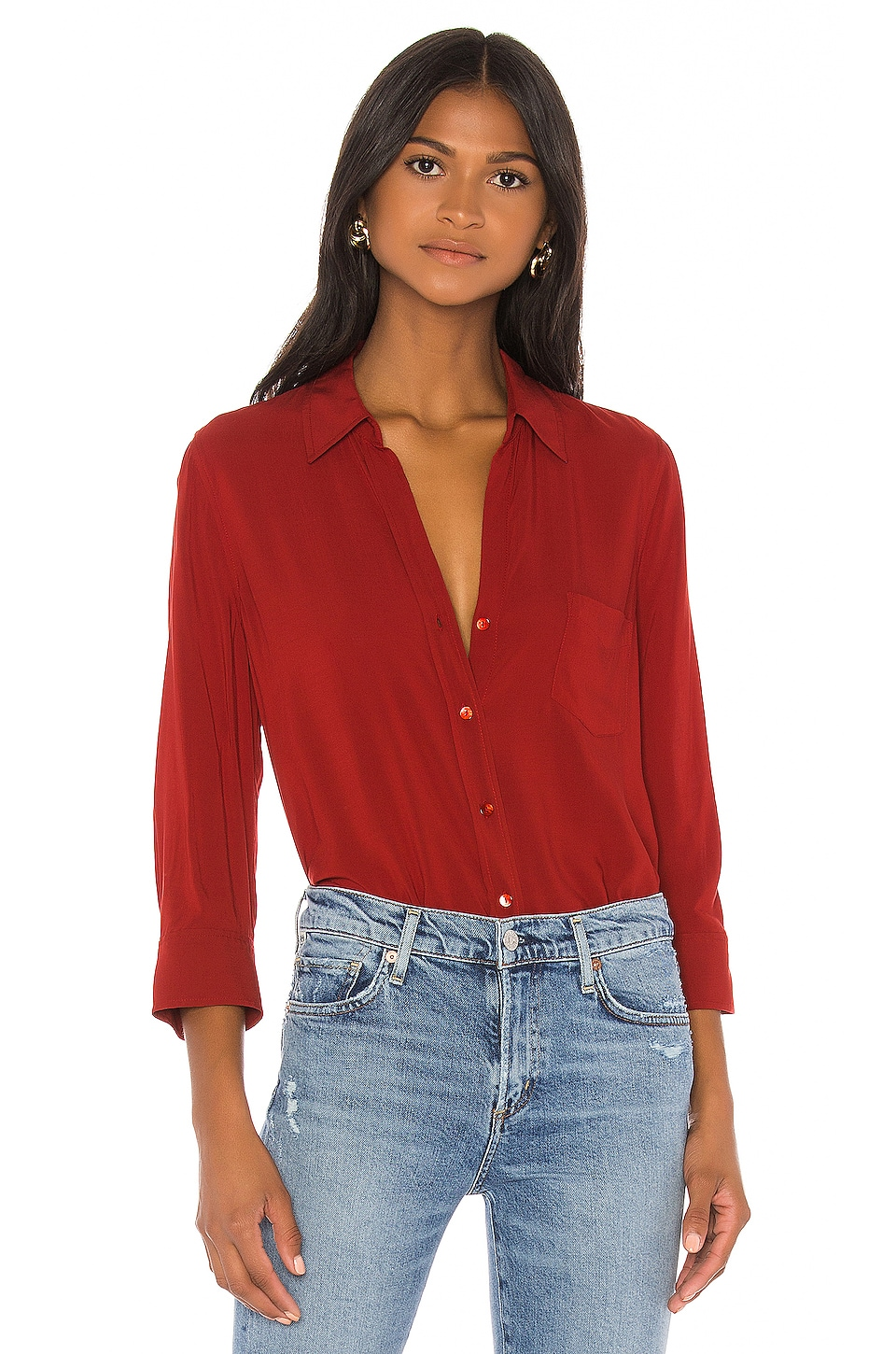 L'AGENCE Ryan 3/4 Sleeve Blouse en Redstone