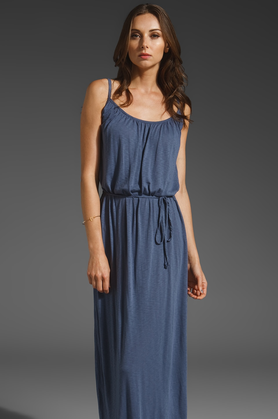 LA Made Slub Jersey Maxi Cami Dress in Night Shadow