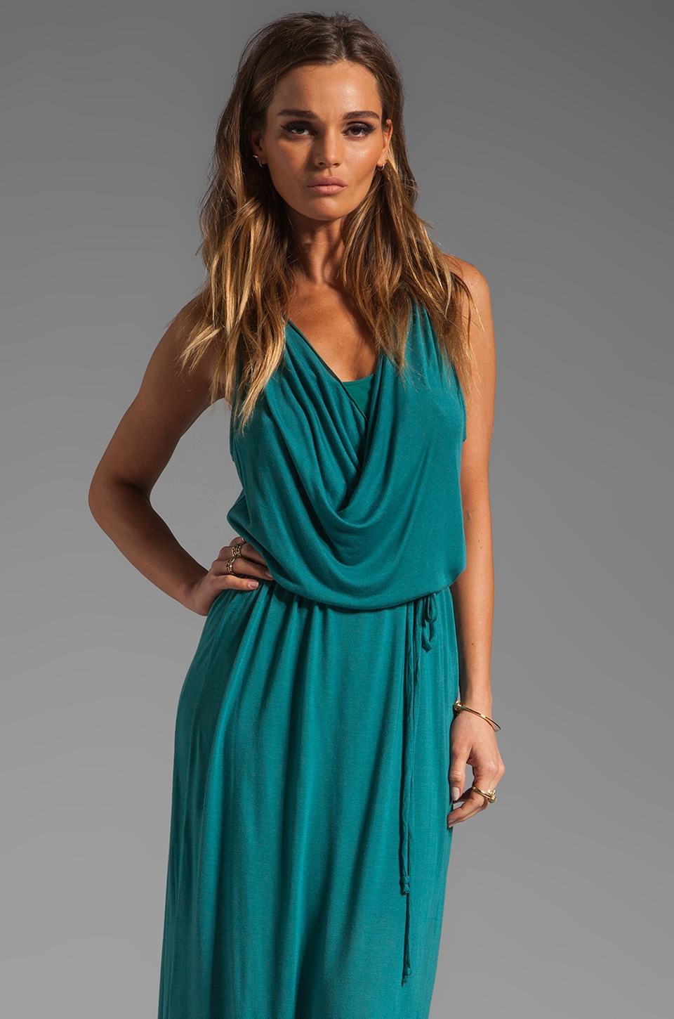 LA Made Draped Collar Maxi Dress in Tourmaline