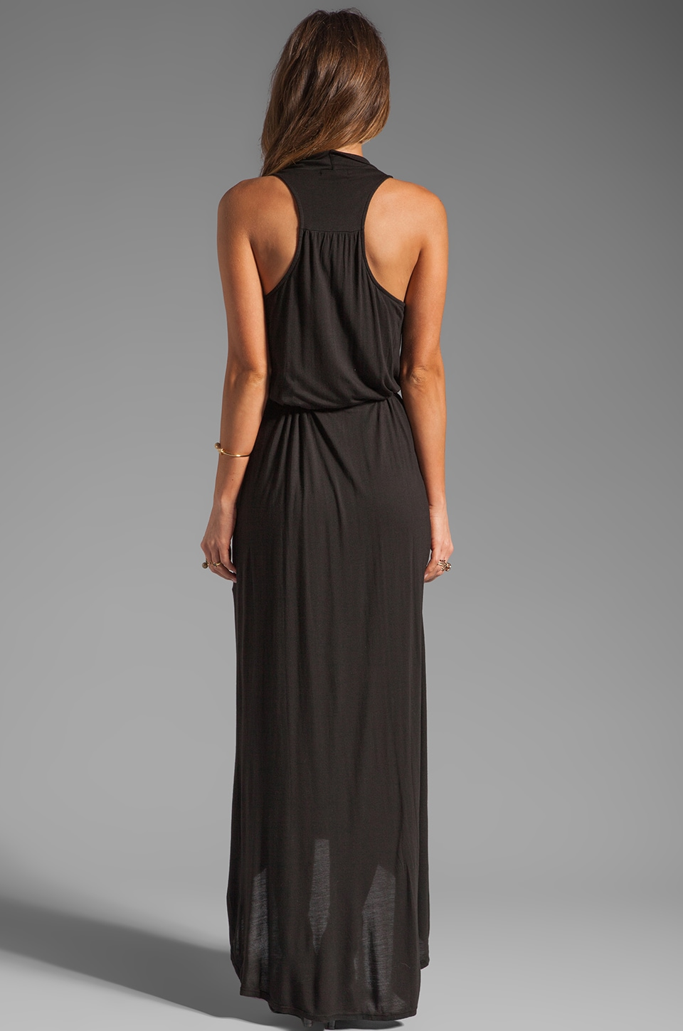 LA Made Draped Collar Maxi Dress in Black