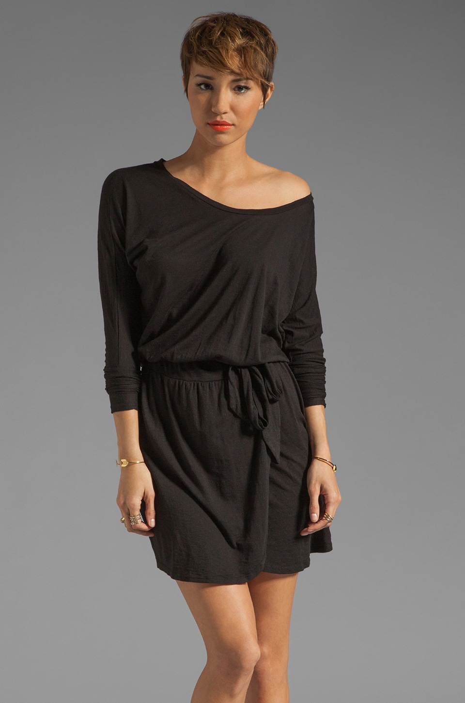 LA Made Slub Jersey 3/4 Sleeve Open Neck Dress in Black