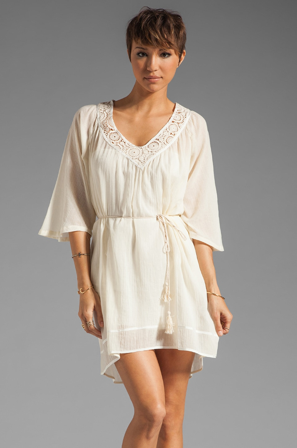 LA Made Elbow Sleeve Shirred Dress in Coconut