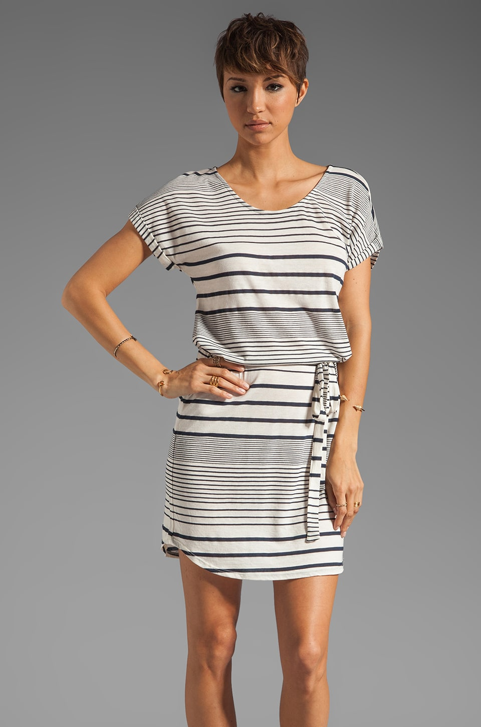 LA Made Variegated Stripe Boatneck Belted Dress in Royalty/Coconut