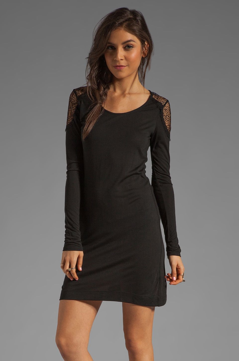LA Made Long Sleeve Lace Inset Dress in Black