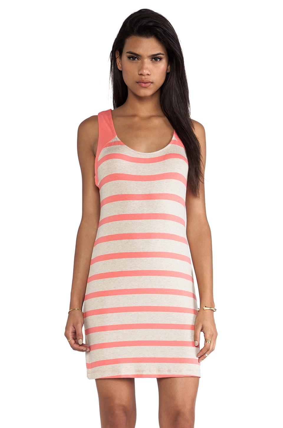 LA Made Stripe Racerback Tank Dress in Grapefruit