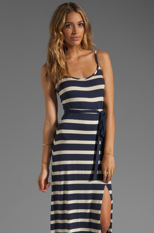 LA Made Stripe Side Slit Tank Maxi Dress in Galaxy/Oatmeal
