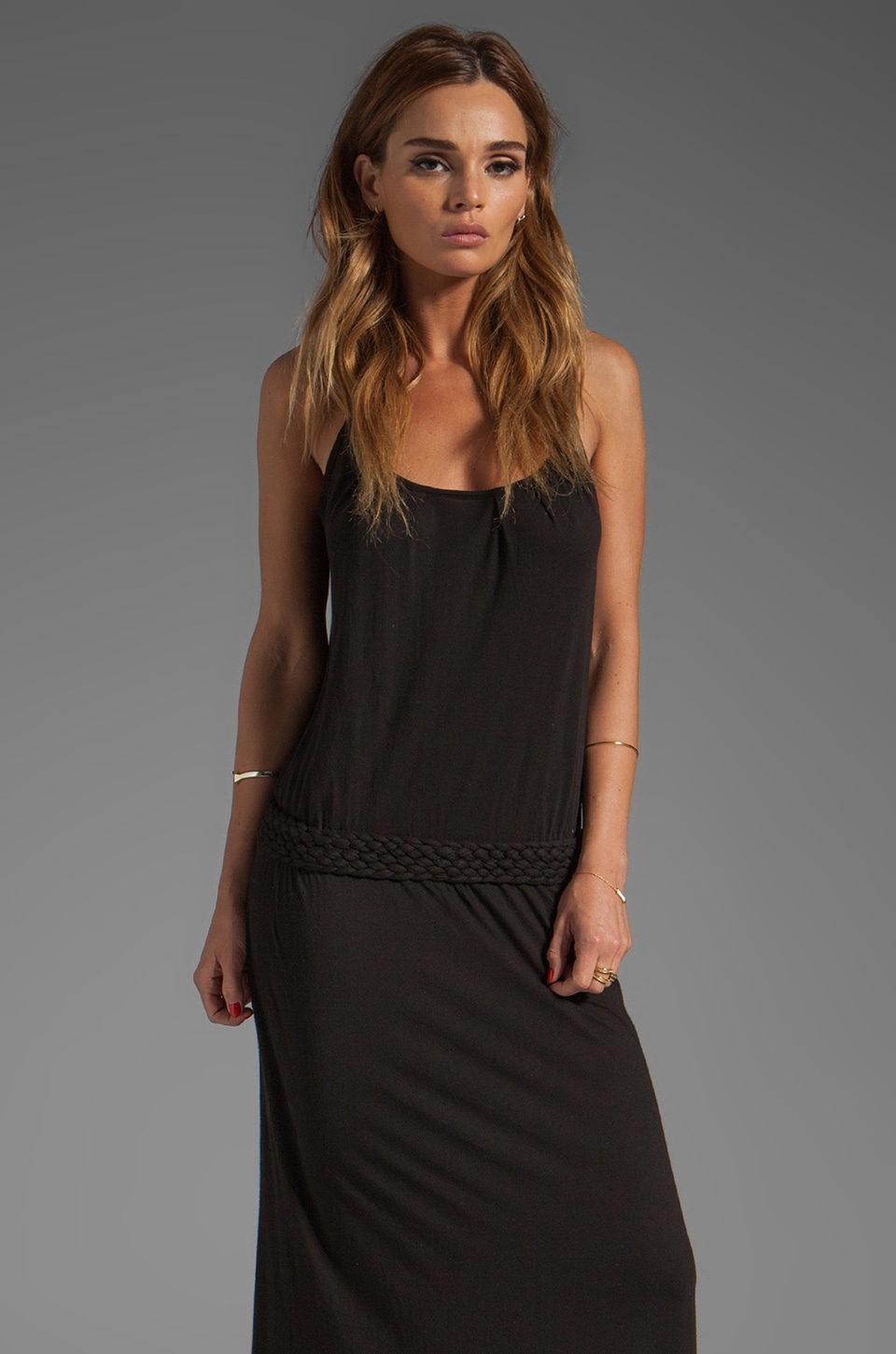 LA Made Braided Long Tank Dress in Black