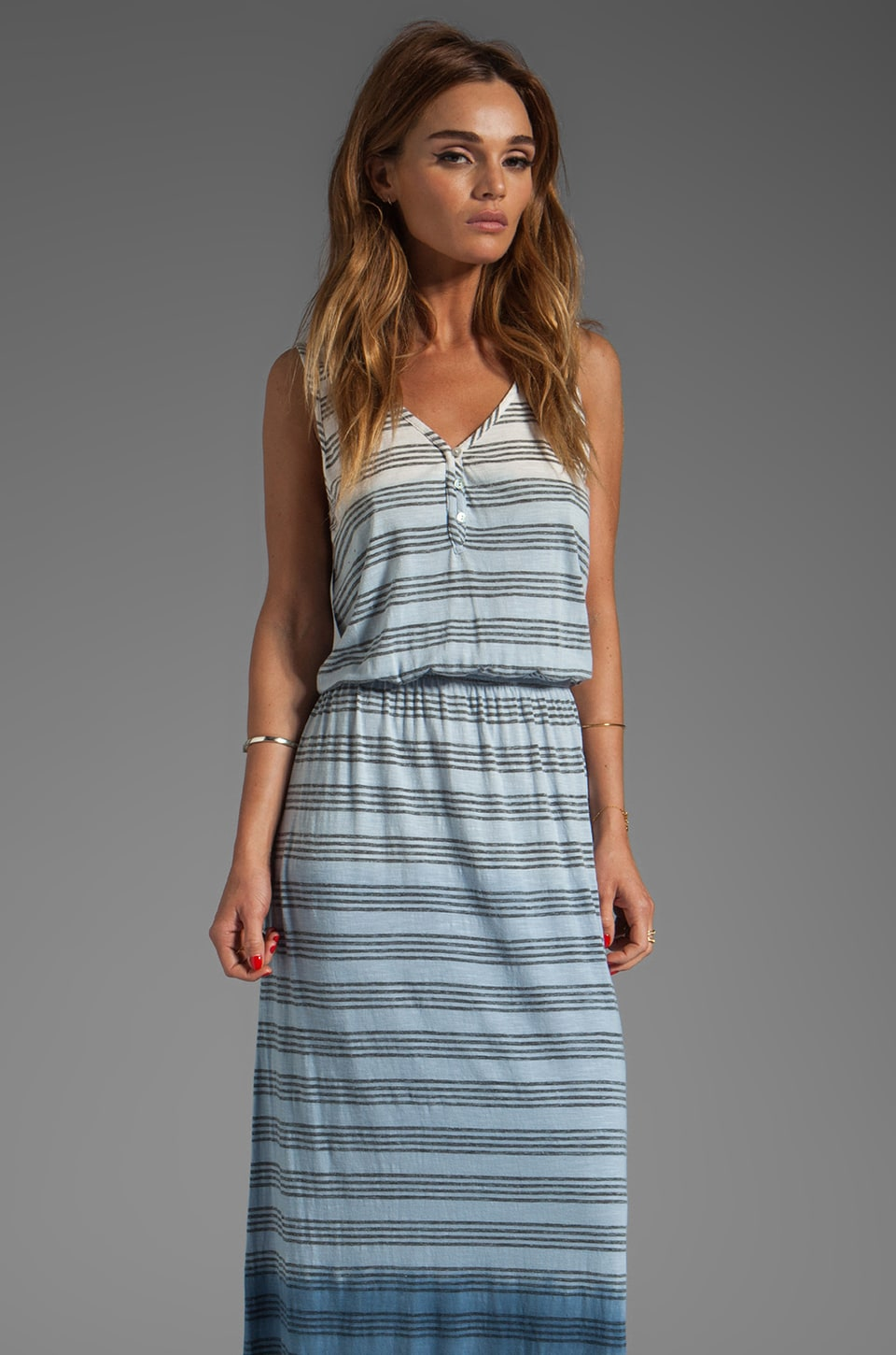 LA Made Ombre Stripe V Neck Maxi Dress in Galaxy