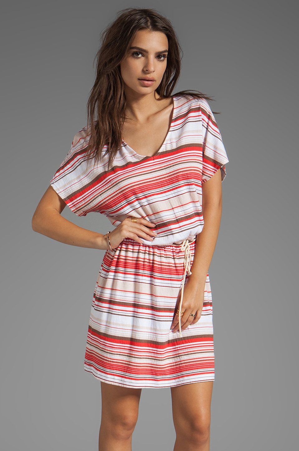 LA Made Stripe Jersey V Neck Tunic Dress in Sunbeam