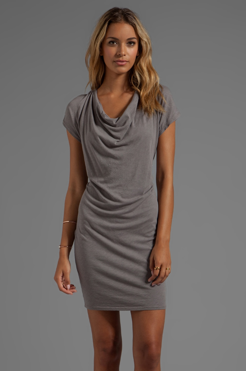 LA Made Drape Front Slub Jersey Dress in Chateau Grey