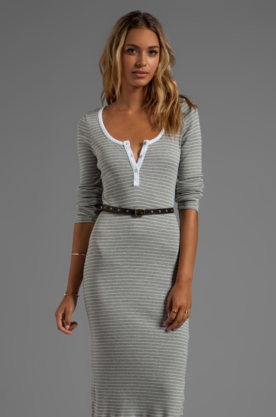 LA Made Tea Length 3/4 Sleeves Striped Dress in Grey White