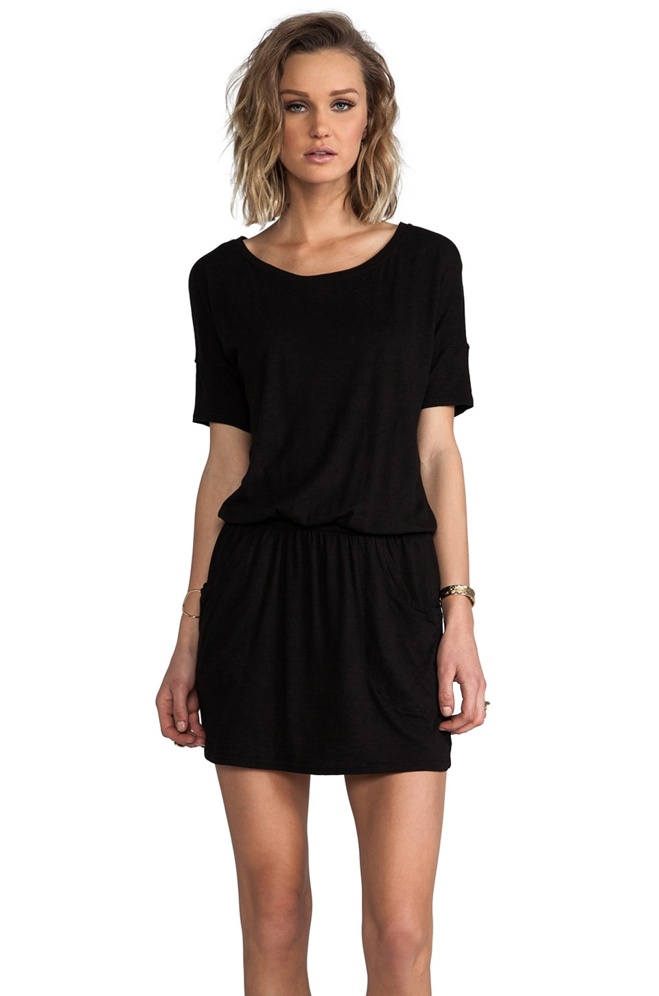 LA Made Short Sleeve Ballet Jersey Dress in Black