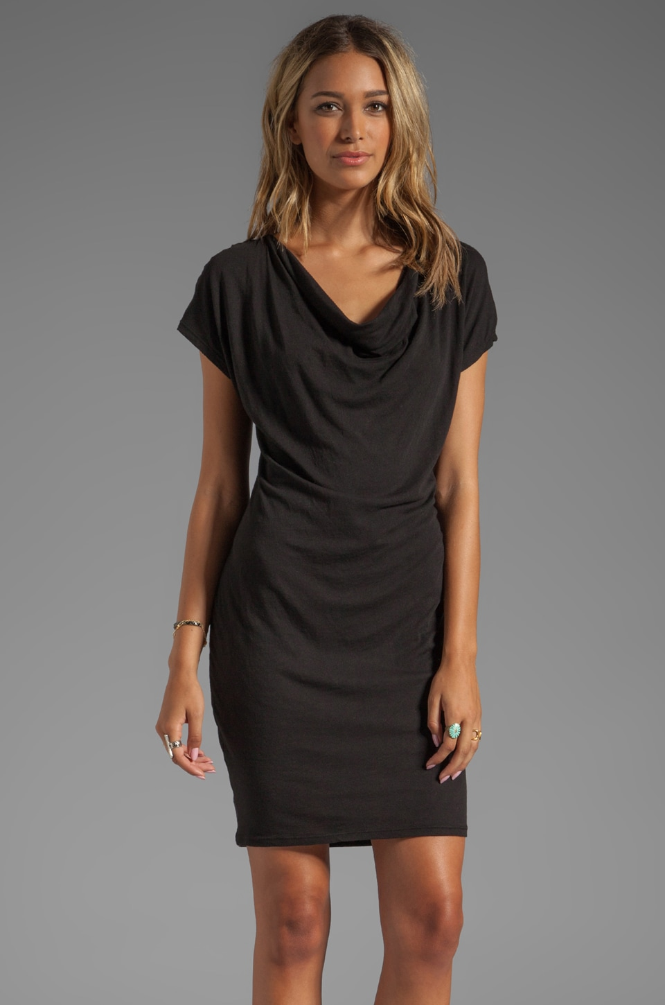 LA Made Draped Front Slub Jersey Dress in Black