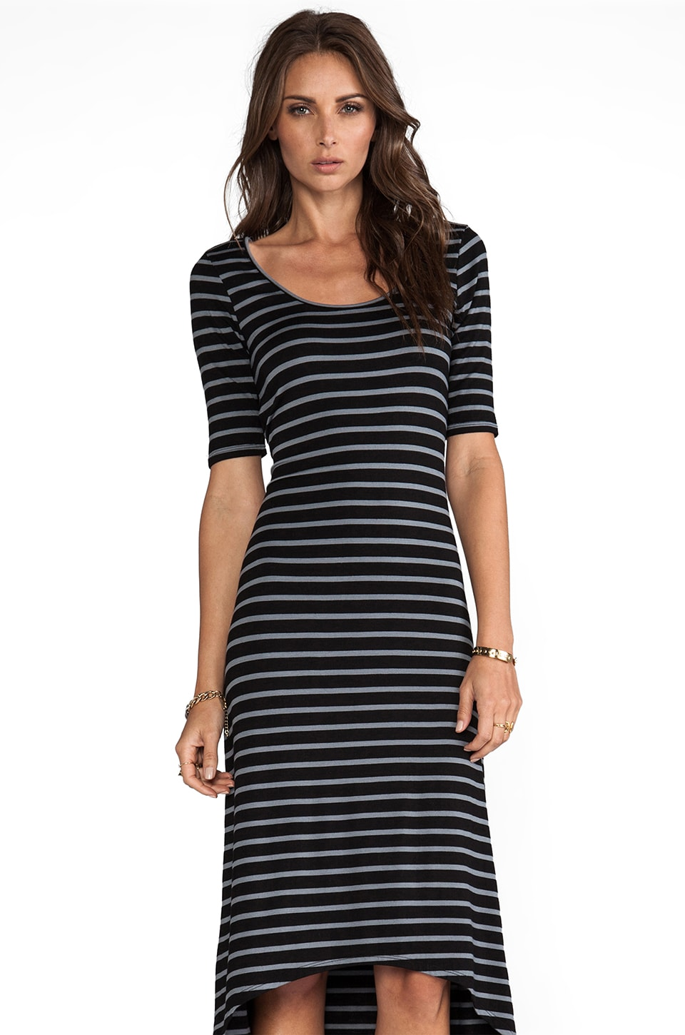 LA Made Stripe Dress in Black Stripe