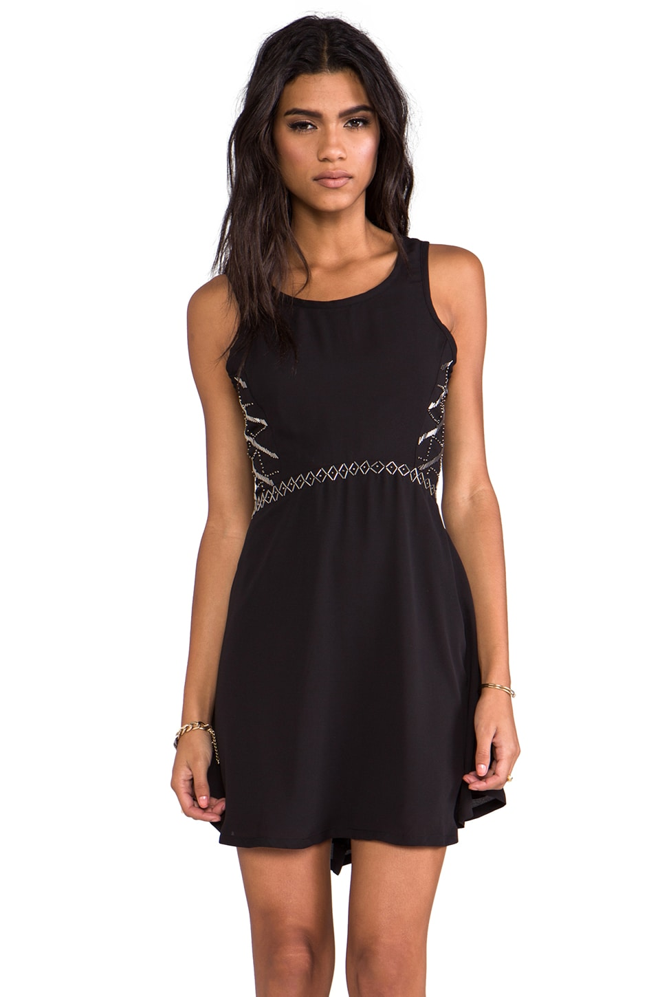 LA Made Georgette w/ Beading Beaded Dress in Black