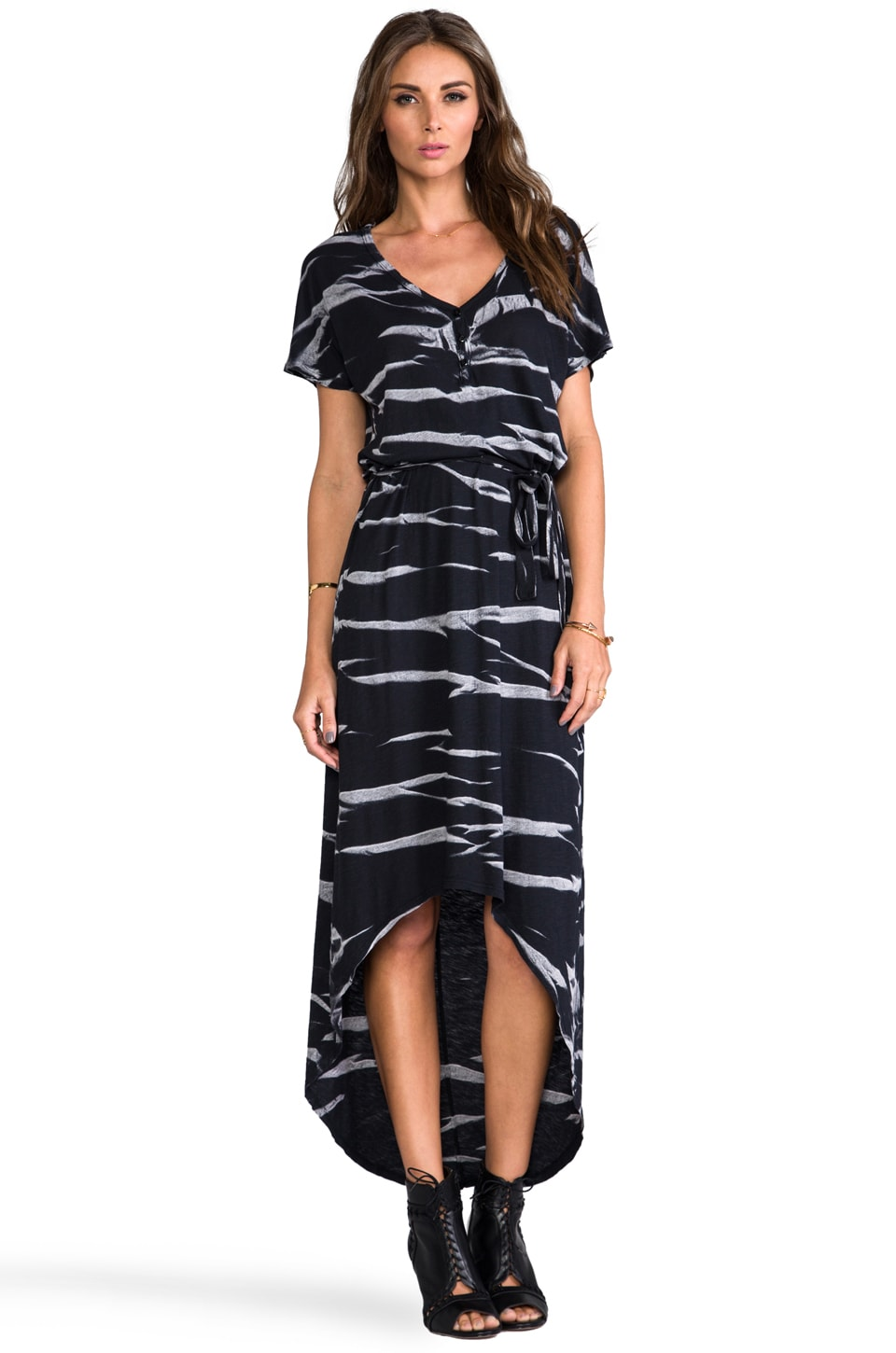 LA Made Horizon Wash on Jersey High Low Dress in Black