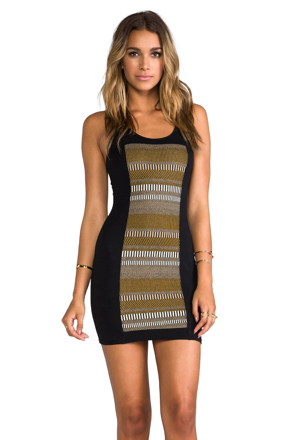LA Made Panel Front Bodycon Dress in Olive/Black