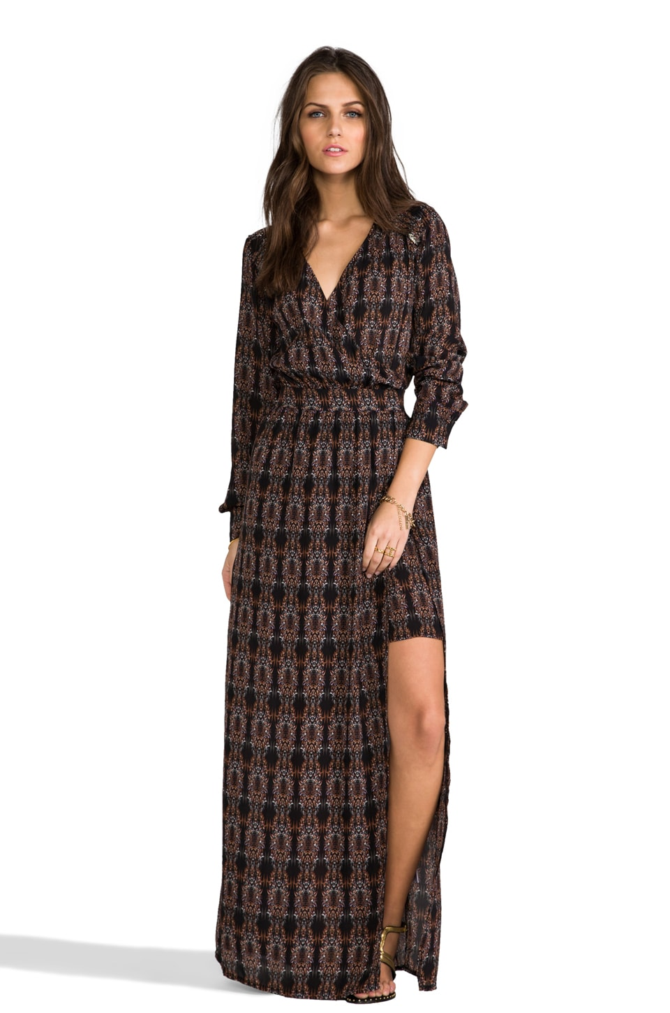 LA Made Maxi Dress with Beaded Trim in Zinc